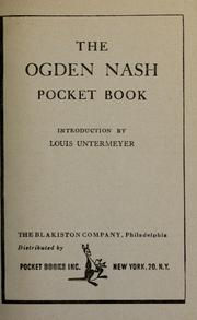 Cover of: The Ogden Nash Pocket Book by Introduction by Louis Untermeyer.