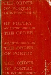 Cover of: The order of poetry by Edward Alan Bloom