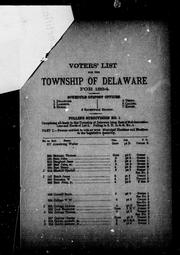 Voters' list for the township of Delaware for 1884 by Delaware (Ont. : Township)