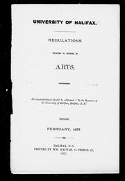 Regulations relating to degrees in arts by University of Halifax (N.S.).