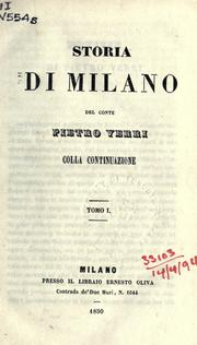Cover of: Storia di Milano by Pietro Verri