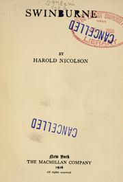 Cover of: Swinburne by Nicolson, Harold George Sir
