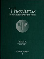 Thesaurus of psychological index terms by 