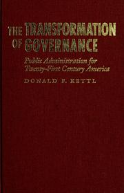 The transformation of governance by Donald F. Kettl