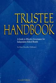Cover of: Trustee handbook by Mary Hundley DeKuyper