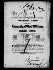Cover of: Voters' list of the township of West Williams by West Williams (Ont.)