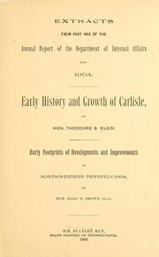 Early history and growth of Carlisle by Klein, Theodore B.