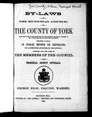 By-laws of the Municipal Council of the County of York
