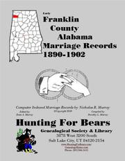 Early Franklin County Alabama Marriage Records 1890-1902 by Nicholas Russell Murray