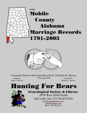 Early Mobile County Alabama Marriage Records 1791-2003 by Nicholas Russell Murray