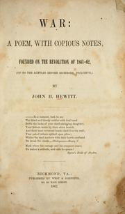 Cover of: War by John Hill Hewitt