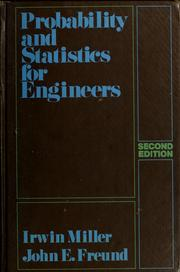 Cover of: Probability and statistics for engineers by Irwin Miller