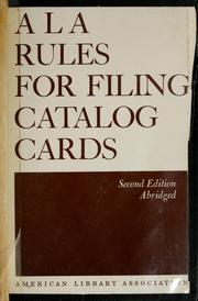 ALA rules for filing catalog cards by American Library Association. Subcommittee on the ALA Rules for Filing Catalog Cards.