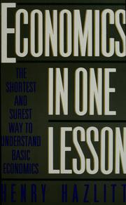 Cover of: Economics in one lesson by Henry Hazlitt
