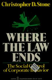 Where the law ends by Christopher D. Stone