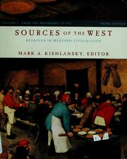 Cover of: Sources of the West by Mark A. Kishlansky ; with the assistance of Victor Stater.