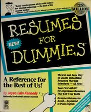 Resumes for dummies by Joyce Lain Kennedy