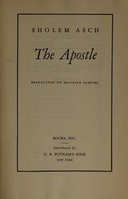 The apostle by Asch, Sholem