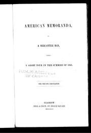American memoranda by Lumsden, James