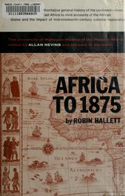 Africa to 1875 by Robin Hallett