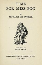 Cover of: Time for Miss Boo by Margaret Lee Runbeck