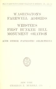 Cover of: Washington's farewell address by