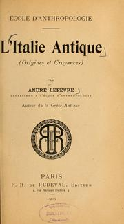 Cover of: L'Italie antique by André Lefèvre