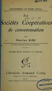 Les socits coopratives de consommation by Charles Gide
