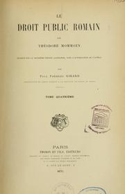 Cover of: Le Droit public romain by Theodor Mommsen
