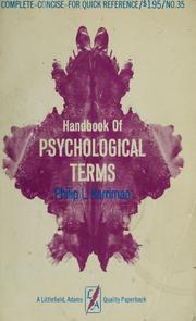 Handbook of psychological terms by Philip Lawrence Harriman