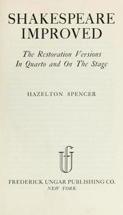 Shakespeare improved by Hazelton Spencer