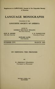 On defining the phoneme by W. F. Twaddell