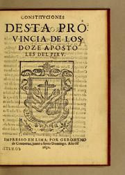 Constituciones desta Provincia de los Doze Apostoles del Piru by Franciscans. Provincia de los Doce Apstoles (Peru)