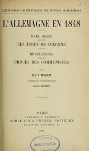 Cover of: L'Allemagne en 1848 by Karl Marx