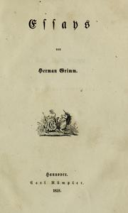 Essays by Herman Friedrich Grimm