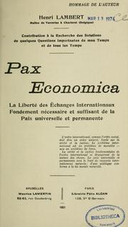 Pax economica by Henri Lambert