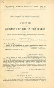 Assassination of President Lincoln by United States. President (1865-1869 : Johnson)