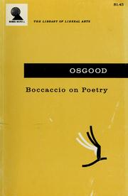 Cover of: Boccaccio on poetry by Giovanni Boccaccio