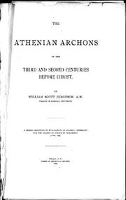 The Athenian Archons of the third and second Centuries before Christ by William Scott Ferguson