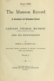 Cover of: 1637-1887, the Munson record by Myron A. Munson