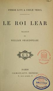 Le Roi Lear by William Shakespeare
