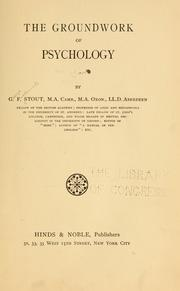 The groundwork of psychology by Stout, George Frederick