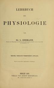 Cover of: Lehrbuch der Physiologie by Ludimar Hermann
