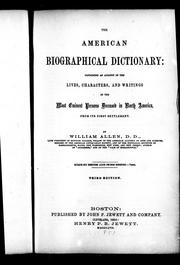 The American biographical dictionary by Allen, William
