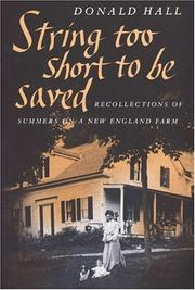 Cover of: String Too Short to Be Saved (Nonpareil Books, No. 5) by Donald Hall, Hall, Donald