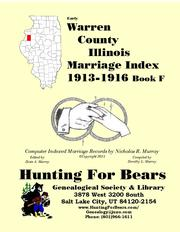 Early Warren County Illinois Marriage Records Book F 1813-1916 by Nicholas Russell Murray