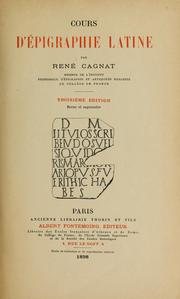 Cours d&#39;pigraphie latine by Ren Cagnat