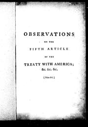 Cover of: Observations on the fifth article of the treaty with America by Joseph Galloway