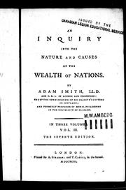 Cover of: An inquiry into the nature and causes of the wealth of nations by Adam Smith