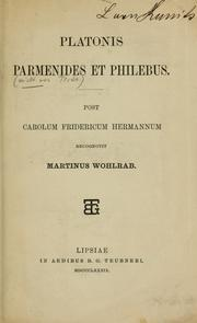 Cover of: Platonis parmenides et philebus by Plato